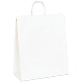 "13"" x 6"" x 15 3/4""  White Paper  Shopping  Bags"