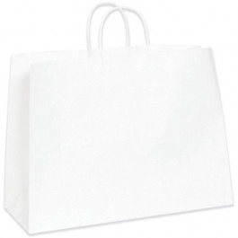 "16"" x 6"" x 12""  White Paper  Shopping  Bags"