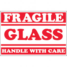 """2"""" x 3"""" - """" Fragile -  Glass -  Handle  With  Care""""  Labels"""