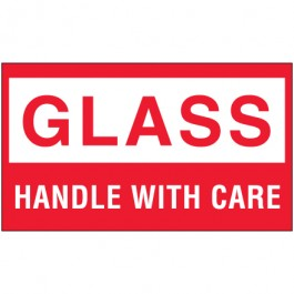"3"" x 5"" - "" Glass -  Handle  With  Care""  Labels"