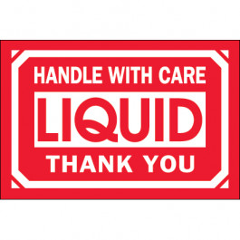 "2"" x 3"" - "" Handle  With  Care -  Liquid -  Thank  You""  Labels"