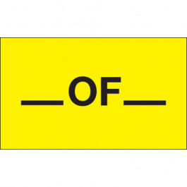 """3"""" x 5"""" - """"__  Of __"""" ( Fluorescent  Yellow)  Labels"""