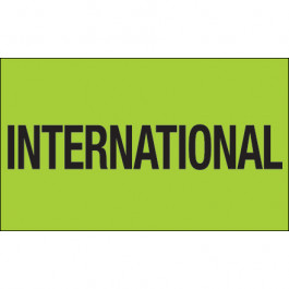 """3"""" x 5"""" - """" International"""" ( Fluorescent  Green)  Labels"""