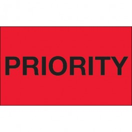 """3"""" x 5"""" - """" Priority"""" ( Fluorescent  Red)  Labels"""