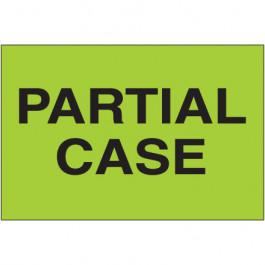 "2"" x 3"" - "" Partial  Case"" ( Fluorescent  Green)  Labels"