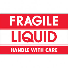 "3"" x 5"" - "" Fragile -  Liquid -  Handle  With  Care""  Labels"