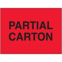 "3"" x 5"" - "" Partial  Carton"" ( Fluorescent  Red)  Labels"