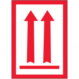 """3"""" x 5"""" - ( Two  Red  Arrows  Over  Red  Bar) Arrow  Labels"""