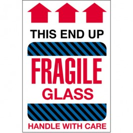 "4"" x 6"" - "" Fragile  Glass -  This  End  Up""  Labels"
