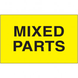 """3"""" x 5"""" - """" Mixed  Parts"""" ( Fluorescent  Yellow)  Labels"""