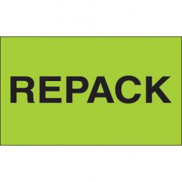"3"" x 5"" - "" Repack"" ( Fluorescent  Green)  Labels"