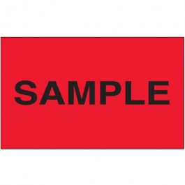 """3"""" x 5"""" - """" Sample"""" ( Fluorescent  Red)  Labels"""