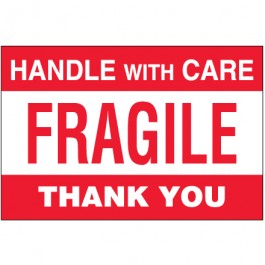 "4"" x 6"" - "" Fragile -  Handle  With  Care""  Labels"