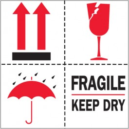 """4"""" x 4"""" - """" Fragile -  Keep  Dry""""  Labels"""