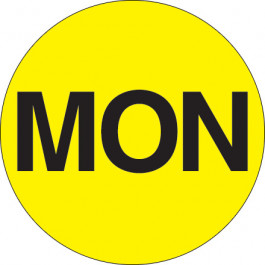 "2""  Circle - ""MON"" ( Fluorescent  Yellow) Days of the  Week  Labels"