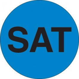 """1""""  Circle - """"SAT"""" ( Blue) Days of the  Week  Labels"""