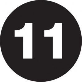 "1""  Circle - ""11"" ( Black) Number  Labels"