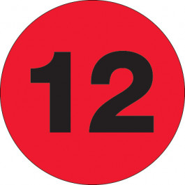 "1""  Circle - ""12"" ( Fluorescent  Red) Number  Labels"