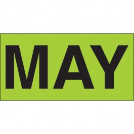 """3"""" x 6"""" - """"MAY"""" ( Fluorescent  Green) Months of the  Year  Labels"""