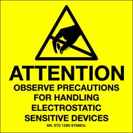 "4"" x 4"" - "" Attention -  Observe  Precautions""  Labels"