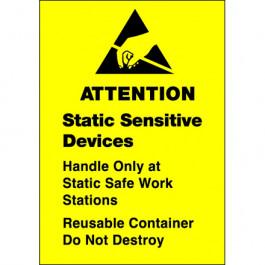 """1 3/4"""" x 2 1/2"""" - """" Static  Sensitive  Devices""""  Labels"""