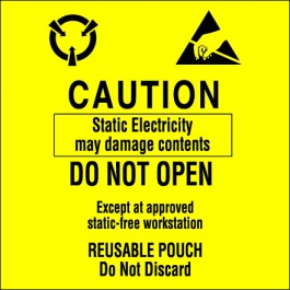 """3"""" x 3"""" - """" Contents  Subject to  Static  Damage""""  Labels"""