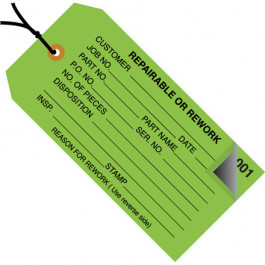 "4 3/4"" x 2 3/8"" - "" Repairable or  Rework"" Inspection  Tags 2  Part -  Numbered 000 - 499 - Pre- Strung"