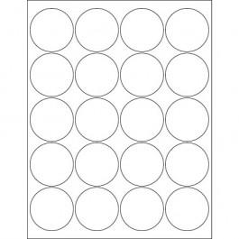 """2""""  White Circle  Laser  Labels"""
