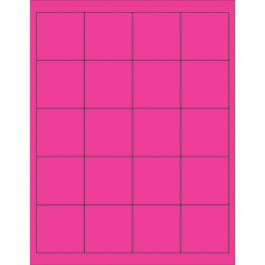 "2"" x 2""  Fluorescent  Pink Rectangle  Laser  Labels"