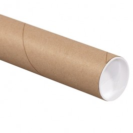 """2 1/2"""" x 12"""" Kraft Mailing Tubes with Caps"""