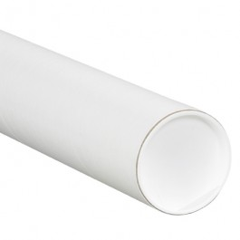 "4"" x 42"" White Mailing Tubes with Caps"