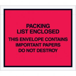 """7"""" x 6""""  Red"""" Important  Papers  Enclosed""""  Envelopes"""