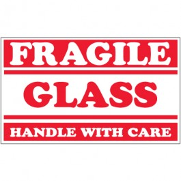 "3"" x 5"" - "" Fragile -  Glass -  Handle  With  Care""  Labels"