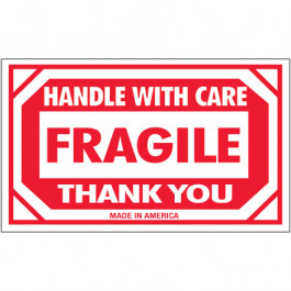 """3"""" x 5"""" - """" Fragile -  Handle  With  Care""""  Labels"""