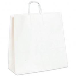 "16"" x 6"" x 15 3/4""  White Paper  Shopping  Bags"