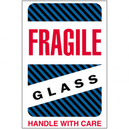"4"" x 6"" - "" Fragile -  Glass -  Handle  With  Care""  Labels"