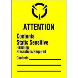 """1 3/4"""" x 2 1/2"""" - """" Contents  Static  Sensitive""""  Labels"""